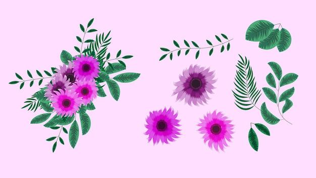 Mazzi di bouquet vettoriali con disposizione di girasole fiori gialli con rami di albero
