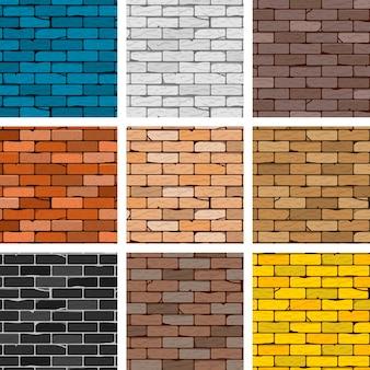 Insieme senza cuciture del fondo del muro di mattoni di vettore, raccolta di strutture del mattone di colore diverso