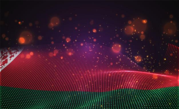 Bandiera di paese incandescente luminoso di vettore di punti astratti. bielorussia