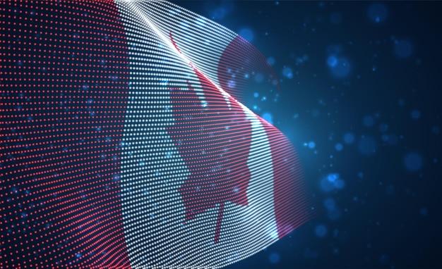 Bandiera di paese incandescente luminoso di vettore di punti astratti. canada