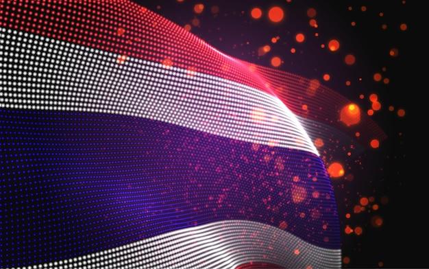 Bandiera di paese incandescente luminoso di vettore di punti astratti. tailandia