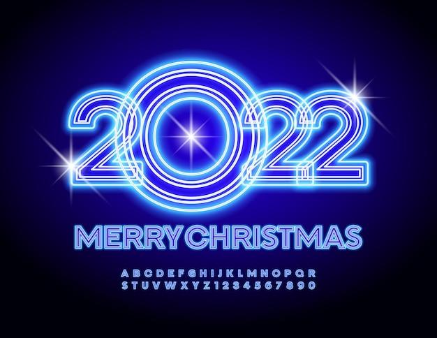 Vector brillante incandescente biglietto di auguri merry christmas 2022 creative neon font trendy alphabet set