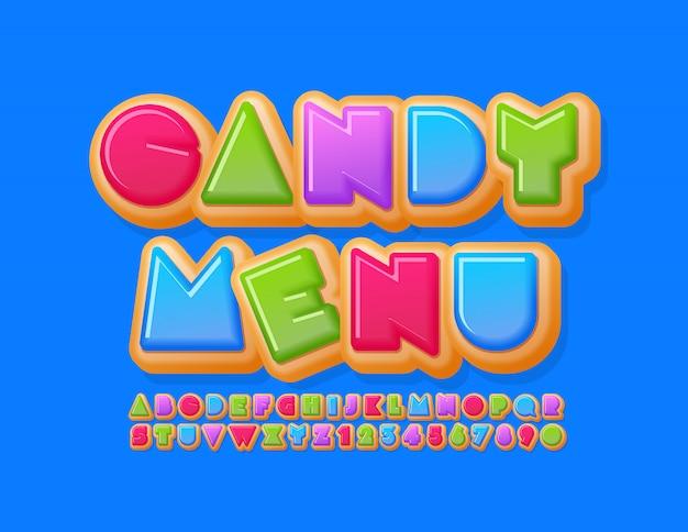 Modello luminoso di vettore candy menu con carattere creativo ciambella. numeri e lettere dell'alfabeto dolce colorato