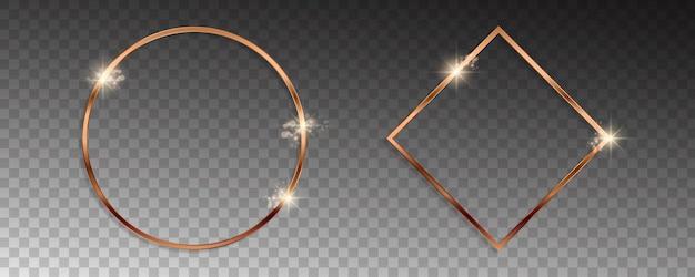 Cornici dorate in bronzo vettoriale con effetti di luce.