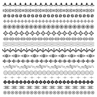 Set di pennelli vettoriali con motivi moderni e classici, motivi floreali per creare confini, dividere e decorare il testo. cornici di line art per inviti, compleanni e biglietti di auguri, certificato.