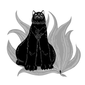 Gatto ingombrante vettoriale un enorme gatto nero si siede di fronte a un uomo illustrazione piatta
