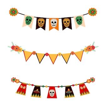 Vector bunting of dia de los muertos festival messicano giorno dei morti