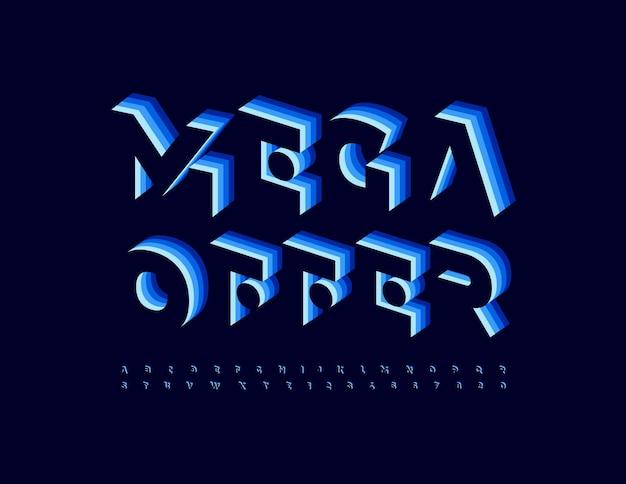 Banner aziendale vettoriale mega offerta carattere isometrico unico set di lettere e numeri di alfabeto 3d blu