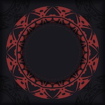 Vector design biglietto da visita in colore nero con motivi greci rossi. biglietti da visita alla moda con posto per il tuo testo e ornamento astratto.