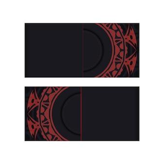 Modello di biglietto da visita vettoriale con posto per il testo e l'ornamento astratto. modello per la stampa di biglietti da visita di design in nero con motivi greci rossi.