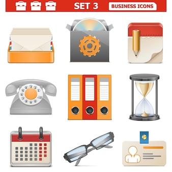 Icone di affari di vettore impostate 3