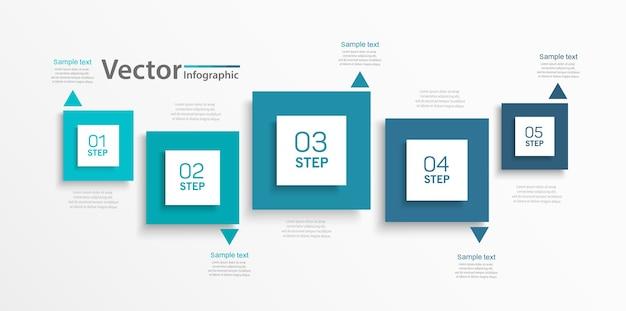 Modello di infografica aziendale vettoriale con quadrati e 5 passaggi