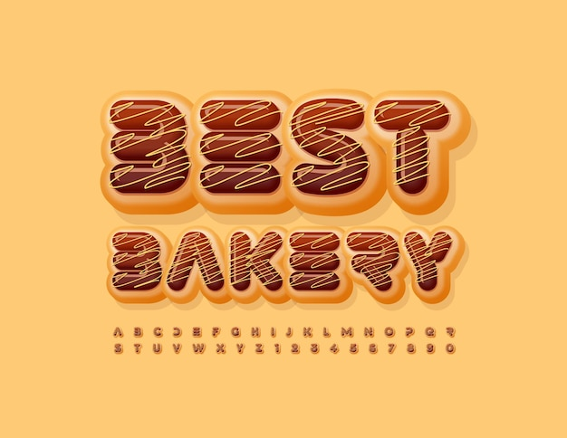 Vector logo aziendale best bakery glassato al cioccolato font sweet alphabet letters and numbers set