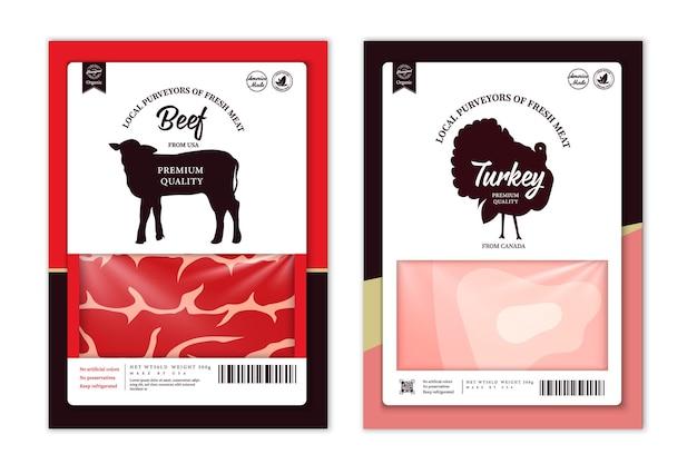 Etichette di macelleria di vettore con sagome di animali da fattoria. icone di mucca, pollo, maiale, agnello, tacchino e anatra e trame di carne per generi alimentari, negozi di carne, imballaggi e pubblicità