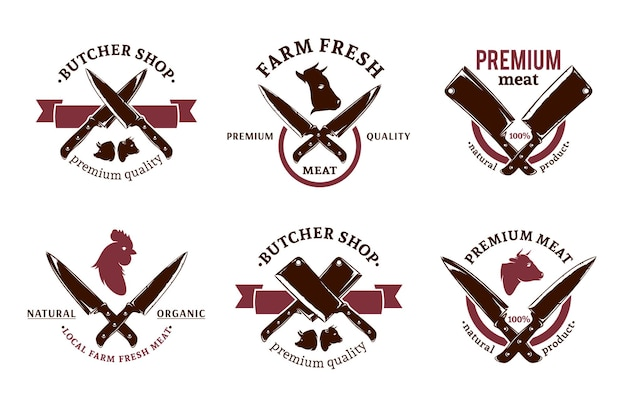 Modelli di logo di macelleria vettoriale