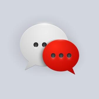 Icona di fumetti rossi e bianchi del pulsante vettoriale con ombra grigia su sfondo bianco