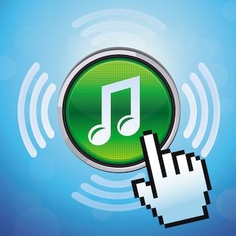Pulsante vettoriale con nota musicale e cursore della mano