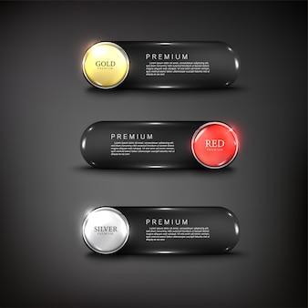 Pulsanti vettoriali web lucido e acciaio per web colore oro argento nero rosso 2