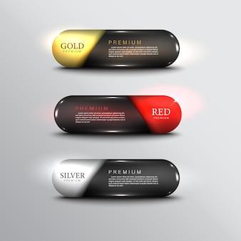 Pulsanti vettoriali web lucido e acciaio per web colore oro argento nero rosso