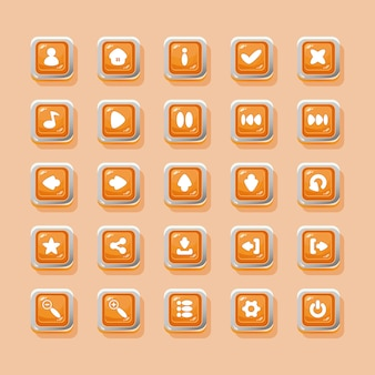Pulsanti vettoriali con icone per il design dell'interfaccia di gioco
