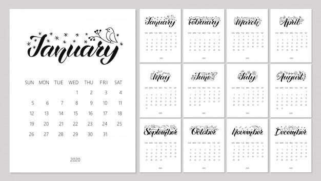 Calendario di vettore con scritte disegnate a mano e scarabocchi.
