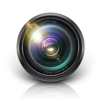 Icona dell'obiettivo della fotocamera vettoriale isolato su sfondo bianco