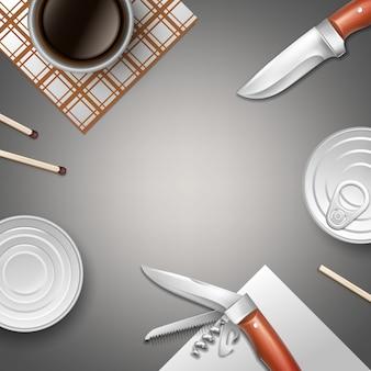 Vector campeggio natura morta con prodotti in scatola, coltelli, fiammiferi, tovaglioli e tazza di caffè con vista dall'alto di copyspace Vettore Premium