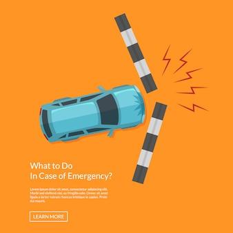 Incidente stradale di vettore con l'illustrazione di vista superiore del sentiero per pedoni