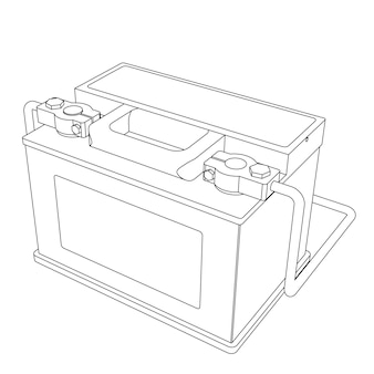 Batteria per auto vettoriale con illustrazione della linea di terminali collegati