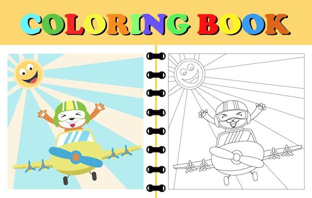 Fumetto di vettore dell'orso sull'aereo libro da colorare o pagina del fumetto animale