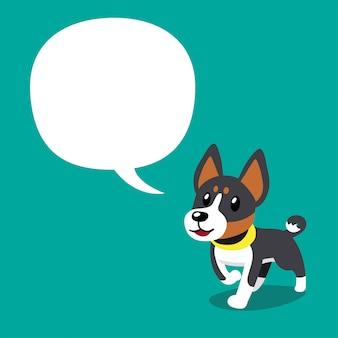 Cani basenji del personaggio dei cartoni animati di vettore con il fumetto
