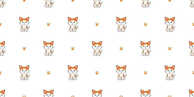 Fondo senza cuciture del gatto del personaggio dei cartoni animati di vettore per il disegno.