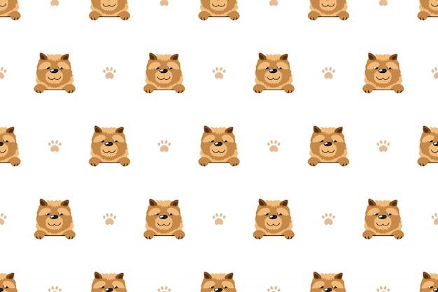 Modello senza cuciture del cane di chow chow del personaggio dei cartoni animati di vettore