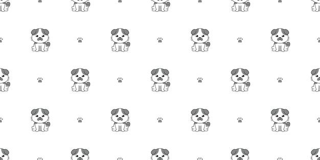 Fondo senza cuciture del modello del gatto sveglio del personaggio dei cartoni animati di vettore per il disegno.