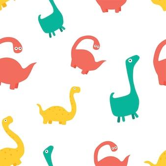 Reticolo sveglio di vettore del fumetto per bambini con i dinosauri.
