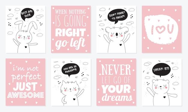 Collezione di cartoni animati vettoriali di cartoline con simpatici animali scarabocchiati con frase scritta motivazionale
