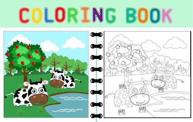 Cartone animato vettoriale di mucca in fattoria con melo libro da colorare o pagina di cartone animato animale