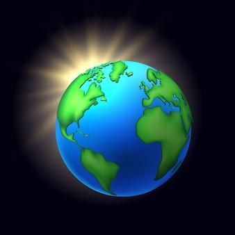Il nero del globo del pianeta della terra del fumetto di vettore