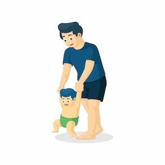 Padre del fumetto di vettore che insegna a suo figlio a walk.ild per mano.
