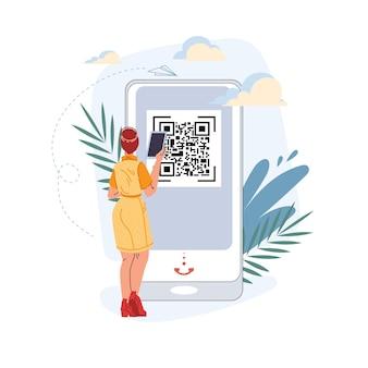 Personaggio piatto del fumetto vettoriale utilizzando tablet smartphone mobile con schermo vuoto vuoto scansione codice qr - shopping online, social media, concetto di navigazione in internet per la progettazione di siti web online