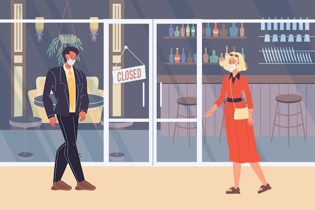Personaggi piatti dei cartoni animati vettoriali che camminano all'aperto, vita durante la quarantena pandemica del coronavirus.