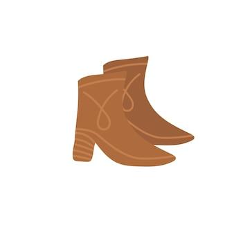Stivali tacco alto piatto alla moda del fumetto vettoriale. nuove calzature alla moda belle isolate su sfondo vuoto-abbigliamento negozio di scarpe, shopping e concetto di moda, design di banner sito web annuncio