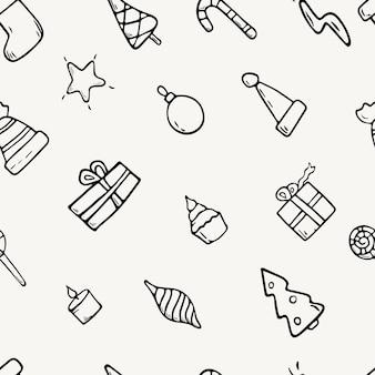 Piatto del fumetto di vettore. modello senza cuciture con icone di doodle di natale. fondo delle decorazioni del nuovo anno.