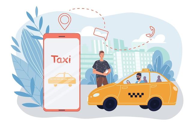 Il carattere dell'uomo piatto del fumetto vettoriale ordina un taxi. cliente sorridente felice che ordina la cabina sul servizio online di app mobile smartphone schermo-auto, annuncio banner sito web, concetto di social media