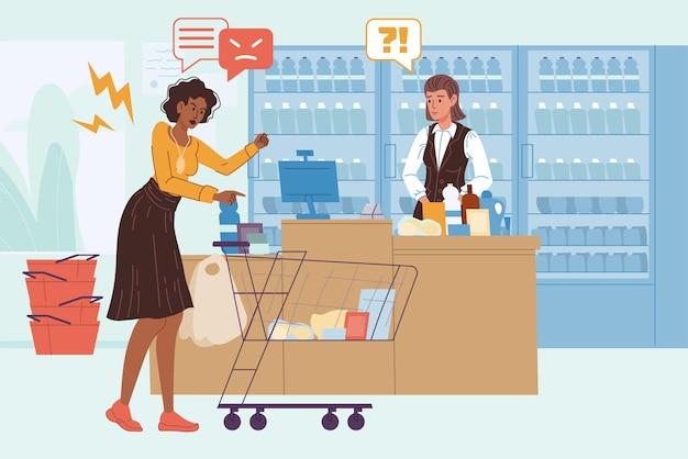 Venditore piatto del fumetto vettoriale e personaggi del cliente arrabbiato che litigano nel negozio di alimentari. gestione della rabbia, ritorno dell'acquisto, lavoro con le obiezioni del cliente, concetto di qualità del servizio, design dell'annuncio banner del sito web