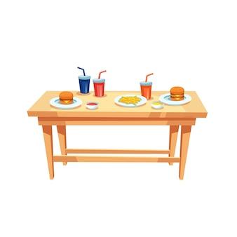 Tavolo piatto vettoriale dei cartoni animati con bicchieri di plastica, salse varie, patatine fritte e hamburger su piatti isolati su sfondo vuoto: dieta fast food e concetto di alimentazione sana, design banner sito web