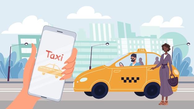 Il personaggio piatto della donna del fumetto vettoriale ordina l'auto taxi.