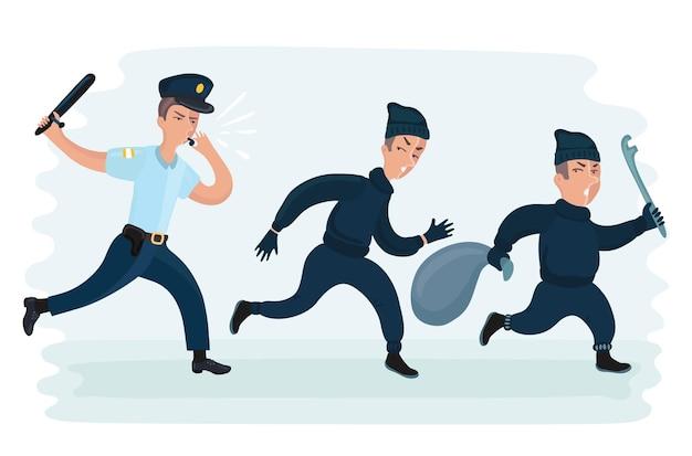 Vector cartoon fonny illustrazione di un giovane poliziotto che corre a caccia di ladri in fuga con una borsa rubata