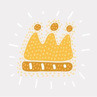 Illustrazione divertente del fumetto di vettore della corona dorata. scetch su sfondo bianco.+