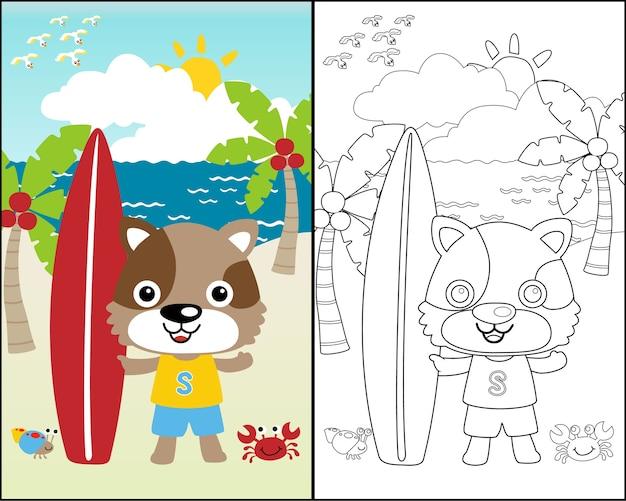 Fumetto di vettore del surfista divertente sulla priorità bassa della spiaggia
